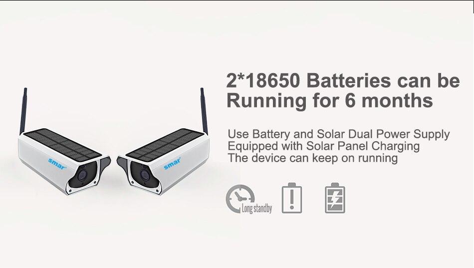 Smar Newest Solar Powered Outdoor Security Camera HD 1080P Wireless IP Camera IR Night Vision Waterproof Surveillance Camera (3)