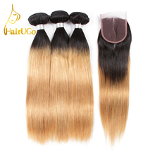 HairUGO Human Hair Non-Remy Straight 3 Bundles With Closure  T1B/27 Pre-Colored Extension Gold Color Free Shipping