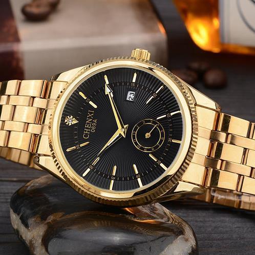 2017 CHENXI Calendar Gold Quartz Watch Men Top Brand Luxury Wrist Watches Golden Clock Relogio Masculino quartz-watch Hodinky 2016 chenxi calendar gold quartz watch
