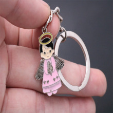 St. Catholic Charm Little Cartoon Angel Keychain Cute Style Jesus Chain Accessories Ring Pendant Gift