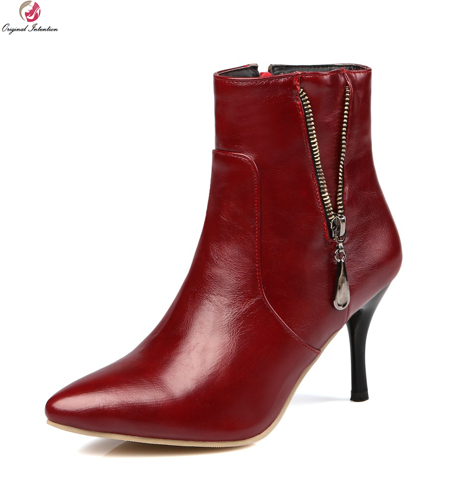 Original Intention Women Ankle Boots Sexy Pointed Toe Thin Heels High quality Wine Red Black White