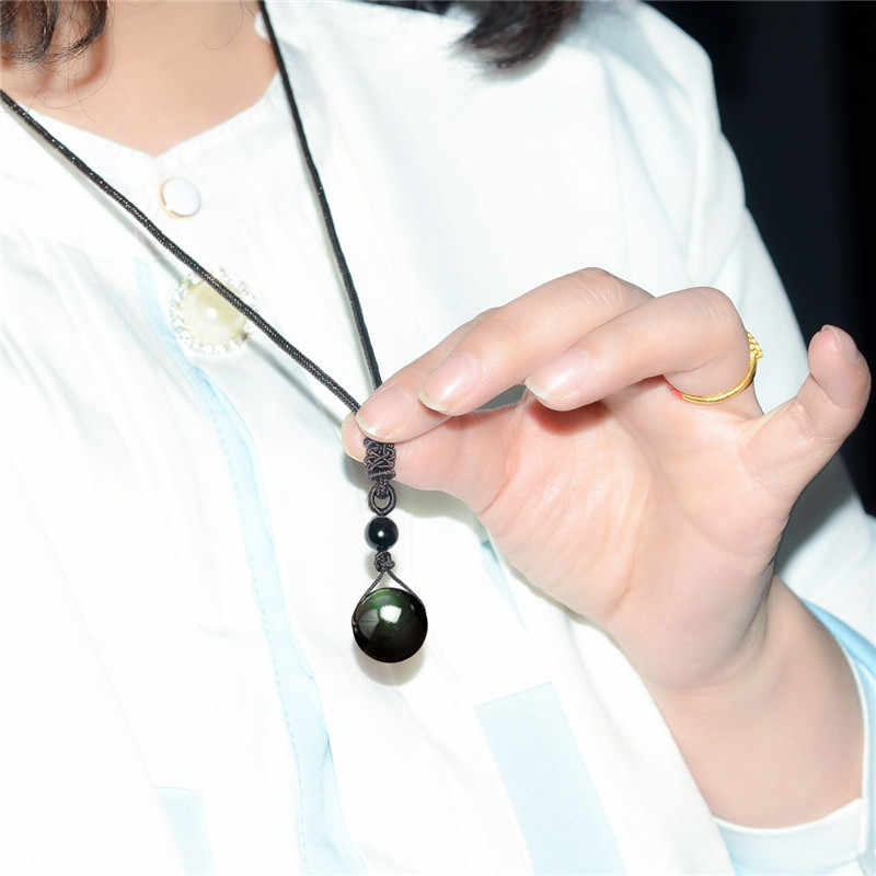 Hitam Obsidian Pelangi Mata Mata Bola Batu Alam Kalung Liontin Transfer Beruntung Cinta Kristal Perhiasan Gratis Tali untuk Wanita Pria