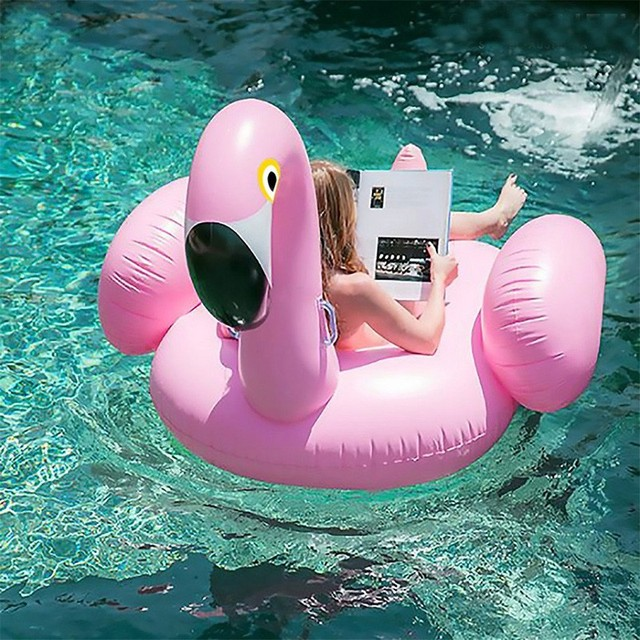 190*190CM Water Toys Pink Giant Inflatable Flamingo Pool Float Toys Thicken PVC Swimming Pool Ride-on Toys Outdoor Fun Sports