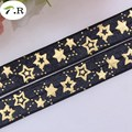 "NEW! #030 black 5/8"" gold foil stars fold over elastic, printed FOE elastic ribbon, FOE for DIY hair ties, welcome custom print"