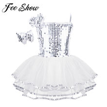 Kids Girls Jazz Tutu Dance Dress Performance Costumes Sequins Shiny Fluffy Skirts & Hairclip Set For Modern Contemporary Dancing(China)