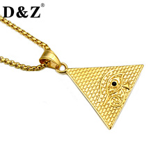 D&Z Hiphop Gold Color Triangle Collier 316L Stainless Steel Evil Eye Pendants & Necklaces for Men Jewelry