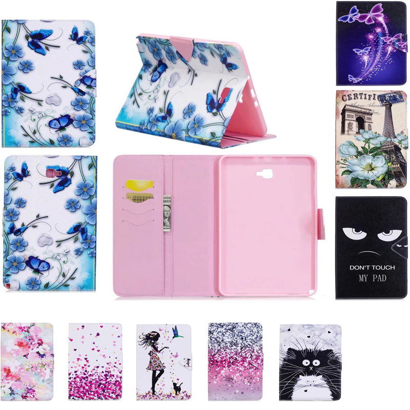 Cartoon Slim Print Stand S-Pen PU Leather Cover Case For Samsung Galaxy Tab A A6 10.1 P580 P585 SM-P580 SM-P585