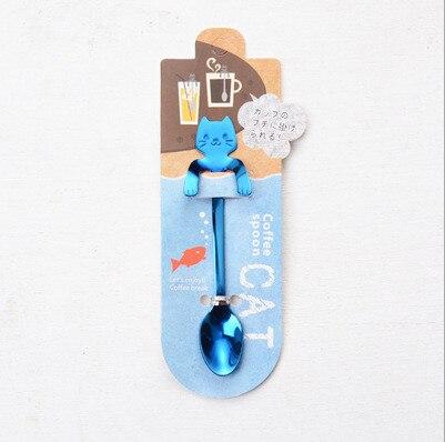 Кофейная и чайная ложка мини-кошка с длинной ручкой креативная ложка для питья пищевая кухонная посуда из нержавеющей стали - Цвет: Blue