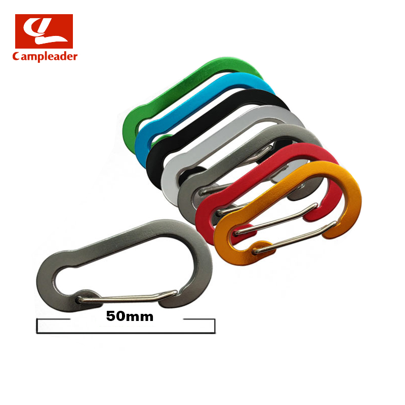 5pcs 5# Gourd-shaped Flat Aluminum Alloy Carabiner Camping Color Wire Keyring Snap Spring Hook Outdoor Travel Kit CL273