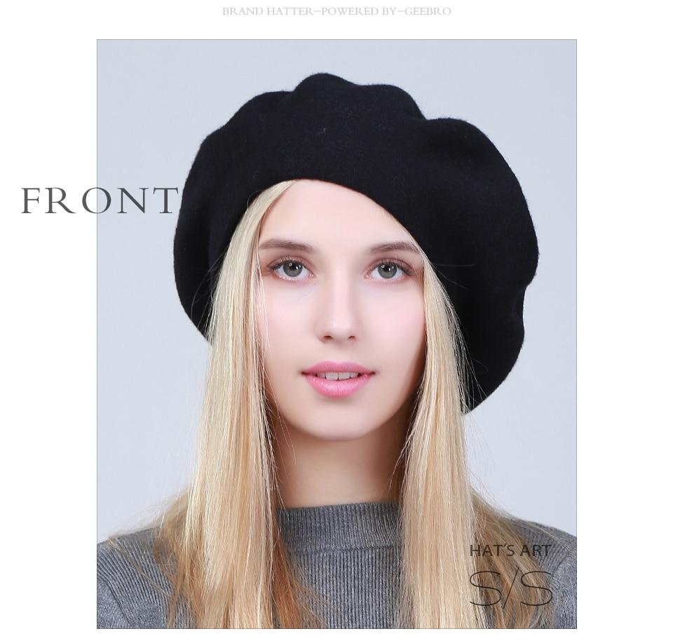 Compre Geebro 2018 Boinas De Mujer Sombrero De Invierno Cachemira ... a9674c4112f