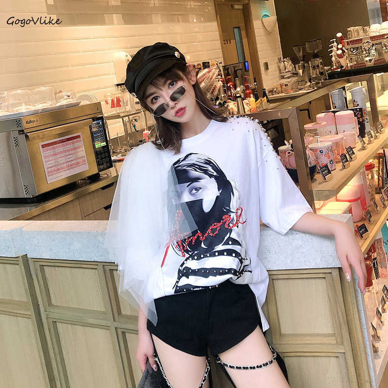 Beading Pearls Top Tees 2019 Summer Women Character Print Casual Tops Mesh Sleeve T shirt Pullovers shirts  Tshirts LT706S40