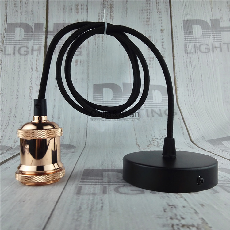 Free shipping rose gold DIY pendant lamp fixture with wire E27 ceramic socket+ceiling plate Edison pendant light AC110V/220V color brass socket e27 industrial pendant lamp fixture copper edison filament socket lighting 110v 220v with fabric textile wire