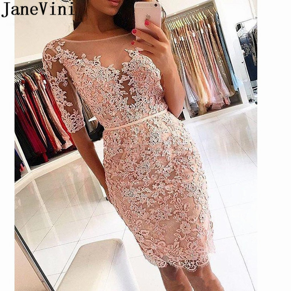 JaneVini Beaded Lace Short Formal   Cocktail     Dresses   with Half Sleeves Pink Red Illusion Neck Party Gown abito   cocktail   donna 2019