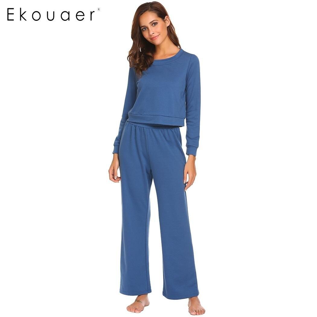 Ekouaer Women Cotton Sleepwear   Pajamas   O-Neck Long Sleeve Top Nightwear Lightweight Loose   Pajama     Set   Female Home Clothes
