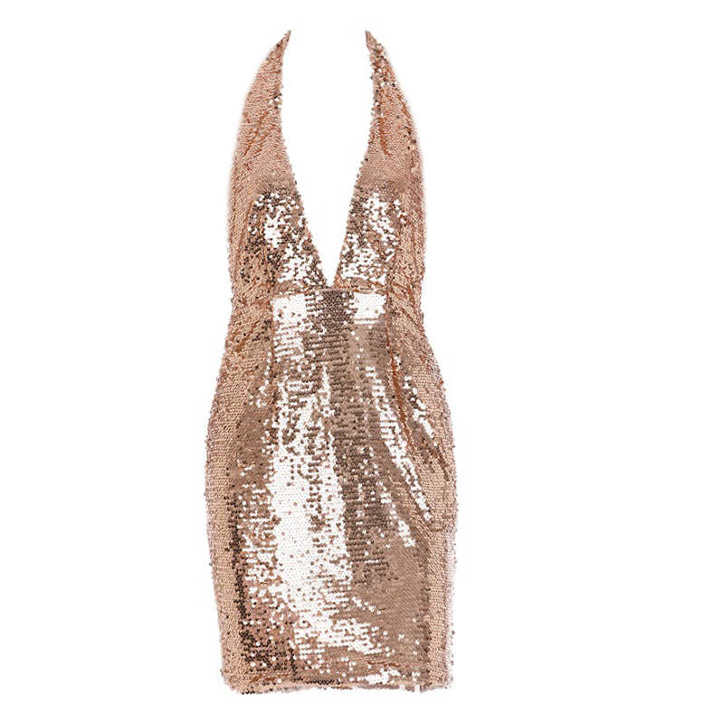 148811ad ... Parthea Sexy Summer Dress Backless Sequin Dress Metallic Chain Party  Dress Gold V Neck Club Mini ...