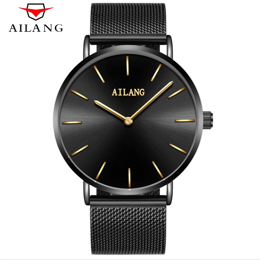 AILANG Fashion Top Luxury Brand Watches Men quartz-watch Stainless Steel Mesh Strap Ultra Thin Dial Clock relogio masculino 2017 bgg brand creative two turntables dial women men watch stainless mesh boy girl casual quartz watch students watch relogio