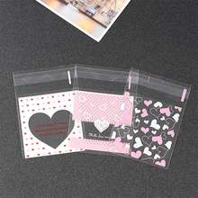 100Pcs Self Adhesive Baking Accessories Plastic Wedding Birthday Party Favors 7*7cm Gift Packaging Bags Cookie Candy Pouch(China)