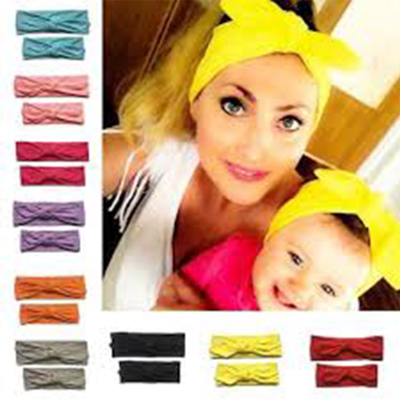 NASHAKAITE Mom And Daughter Elasticity Headband Solid Bownot Hairband 2pcs Hair Accessories For Women Kids Mommy And Me Headband