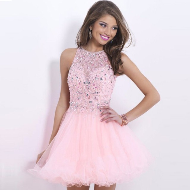 Light Pink Homecoming Dresses Halter Vestido De festa Curto Short ...