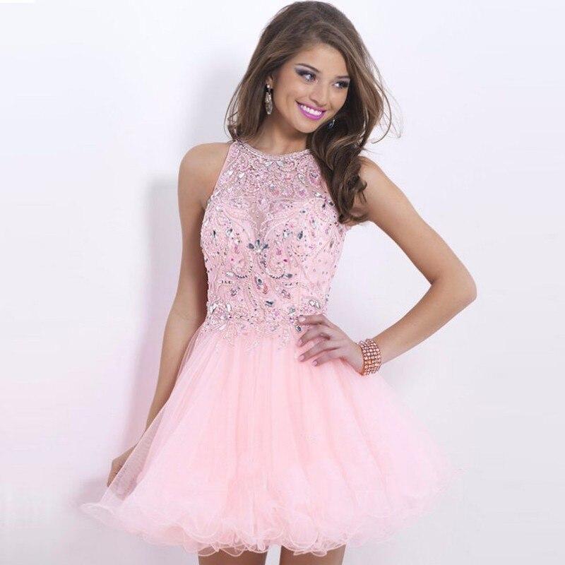 Light Pink Vestidos de Fiesta Halter Vestido De festa Curto octavo Grado  Graduación Vestidos de Cóctel