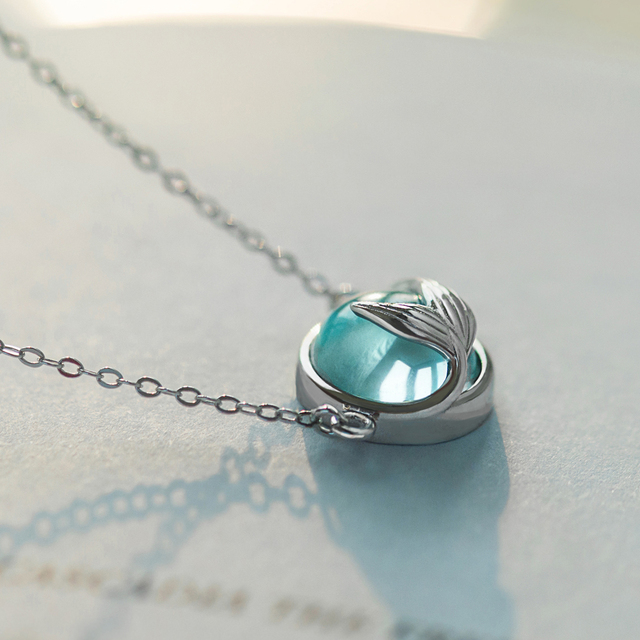 Thaya Mermaid Foam Bubble Design Crystal Necklace s925 silver Mermaid Tail Blue Pendant Necklace for Women Elegant Jewelry Gift 4