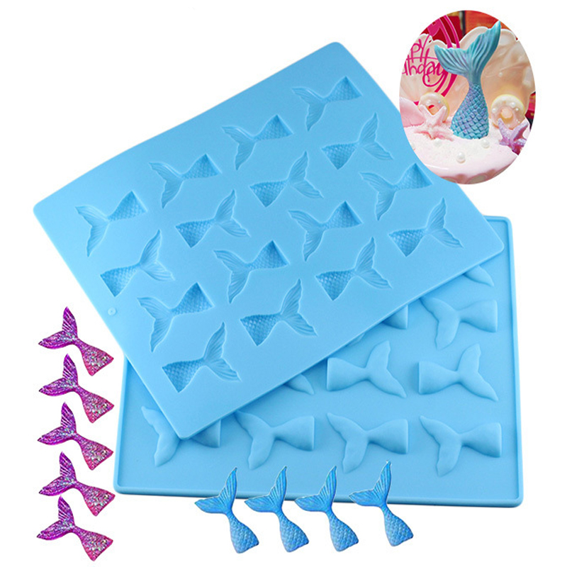 Silicone Mini Mermaid Tail Mold Fondant Cake Molds Chocolate Clay Candy Moulds Cupcake Kitchen Baking Tools Gum Paste BakingTool