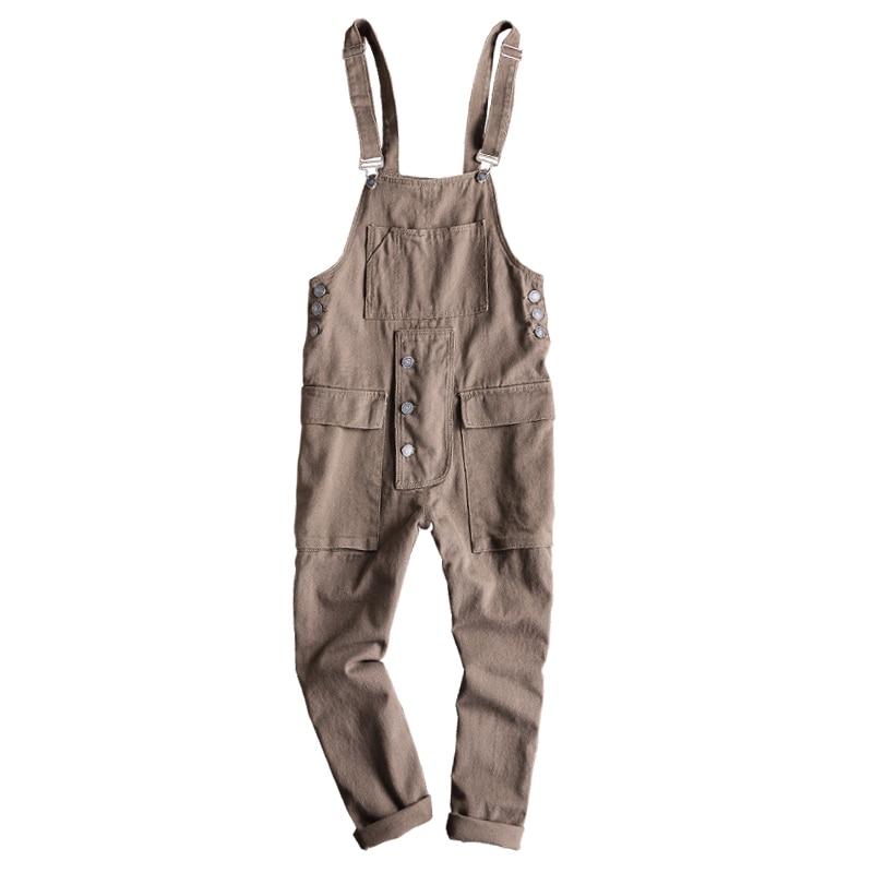 Sokotoo Men's Loose Big Pocket Hip Hop Denim Bib Overalls Casual Black Khaki Suspenders Jumpsuits Jeans