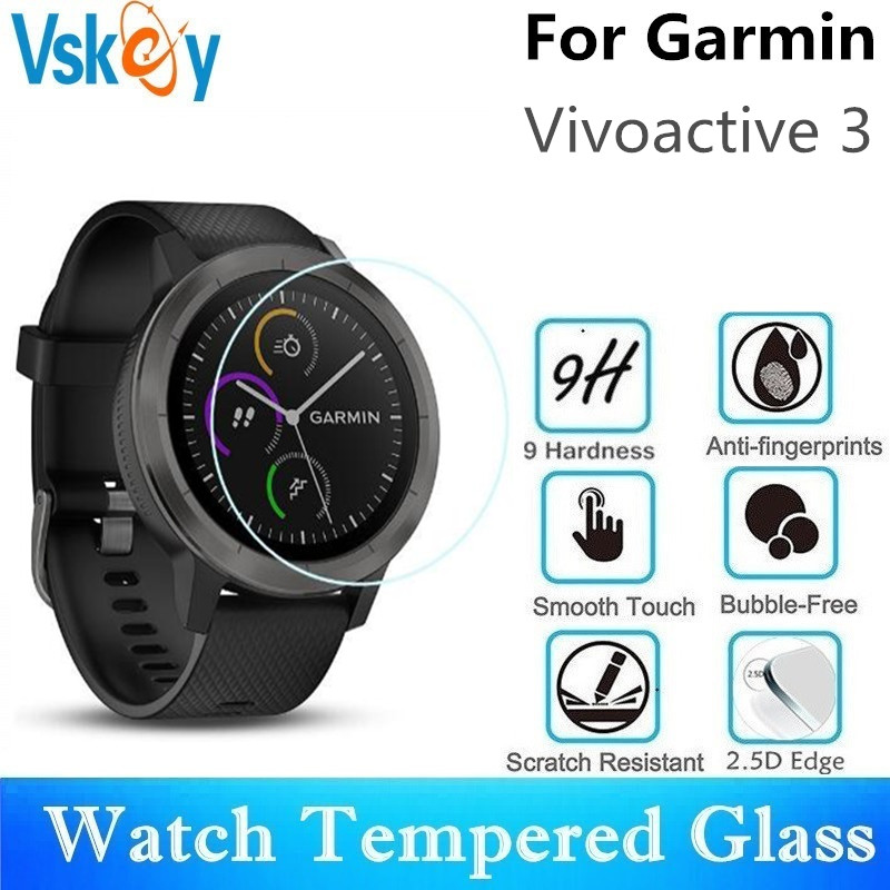 VSKEY 100PCS Tempered Glass for Garmin Vivoactive 3 Screen Protector Diameter 36mm Sport Smart Watch Protective