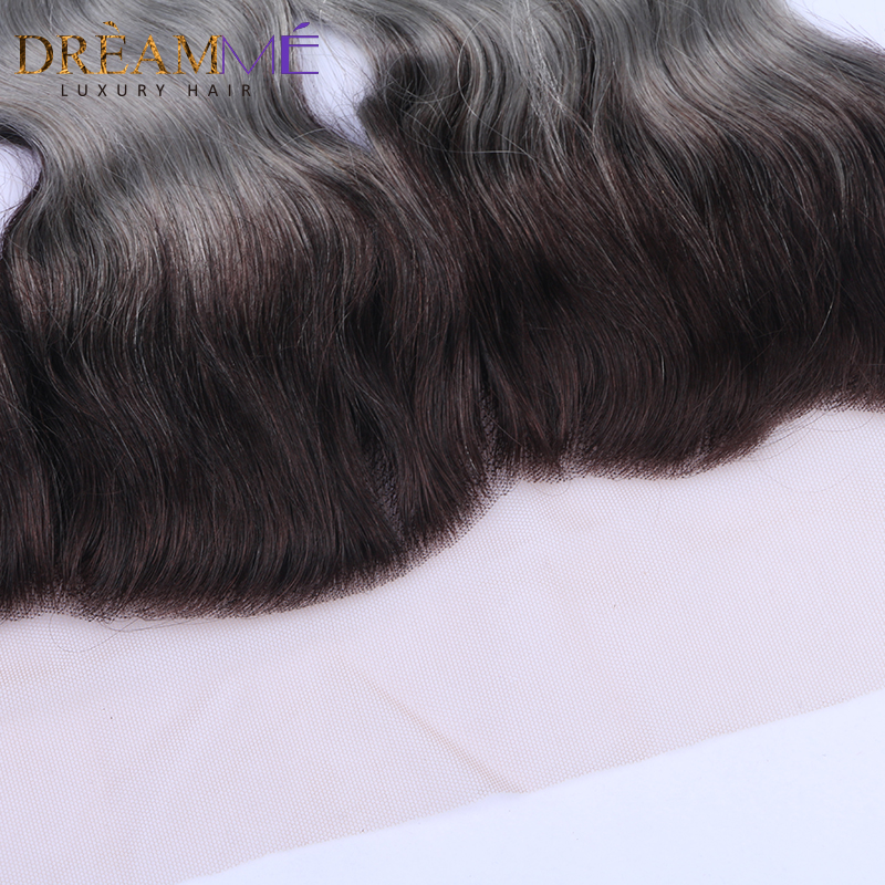 1b Grey Body Wave 13x4 Lace Frontals Closure Ombre Brazilian Human Hair Gray Frontal With Baby Hair Remy Hair Dreamme Hair