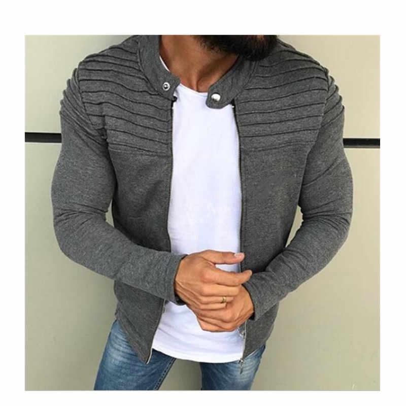 Lente Herfst Nieuwe mannen Rits Jasje Mannelijke Casual Streetwear Lange Mouwen Solid Coat Mannen Streep Geborsteld Kleding
