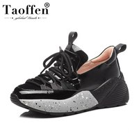 TAOFFEN Women Sneakers Genuine Leather Casual Shoes Women Spring Lace Up Jogging Fitness Trainers Wedges Sneaker Size 35 39