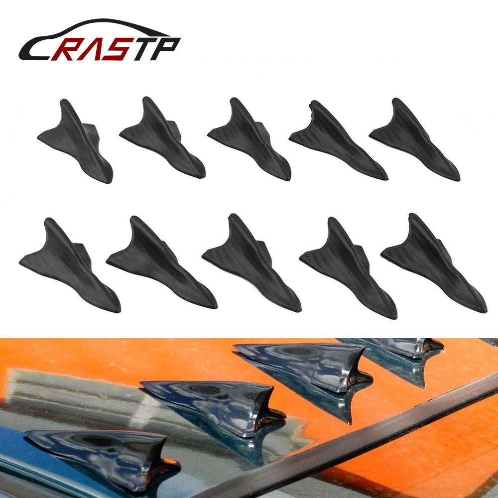 RASTP-10pcs Universal Auto Car Vehicle Roof Shark Tail Fin Black Vortex Wing Tip Type Decoration RS-LKT023
