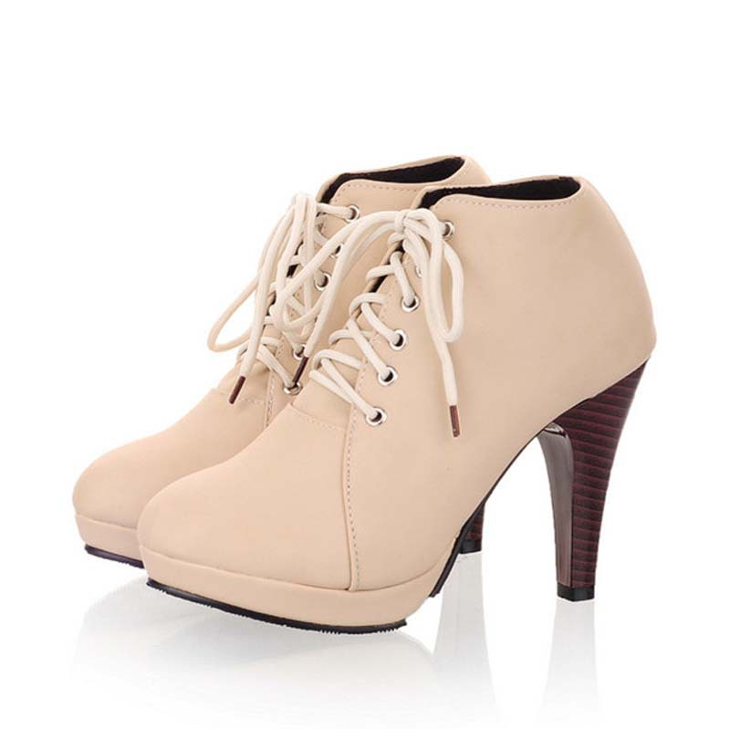 цены  Round Toe Fashion Lace-Up Ankle Boots Shoes Big Size Thin Heels High Boots Spring Autumn Soft Leather Women Martin Boots
