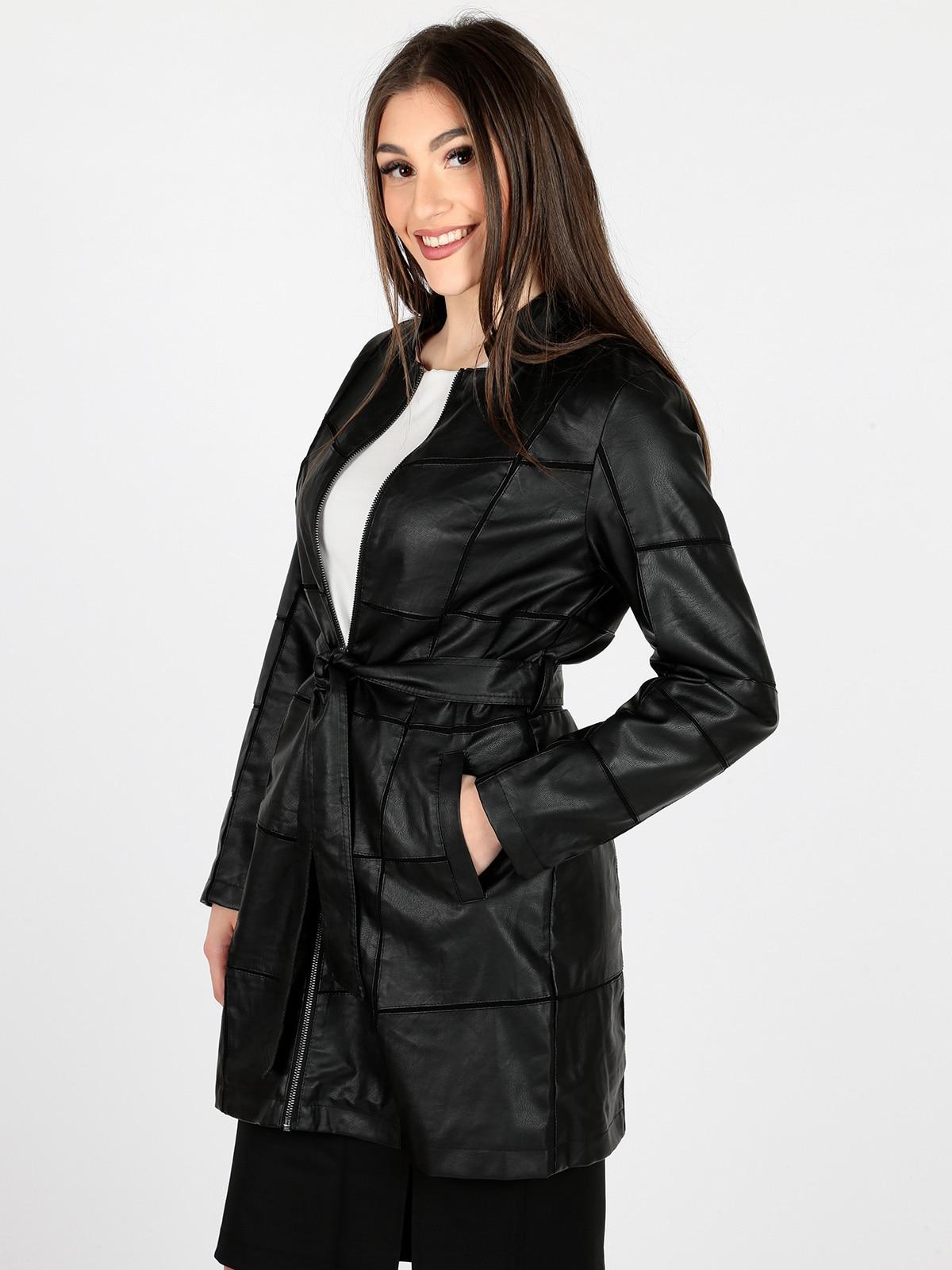 Woman faux   leather   mid-length belt zipper windbreaker jacket