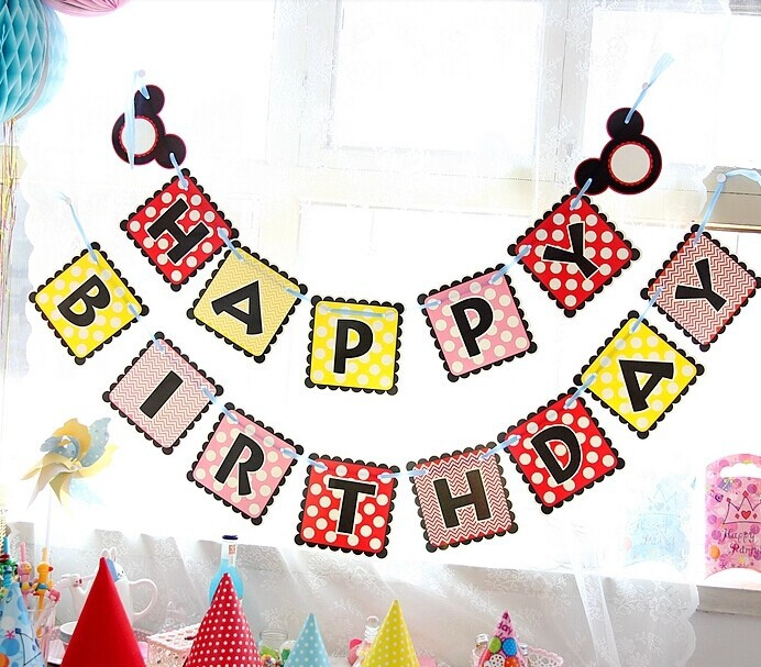 Happy Birthday Banner Party Letter Garland Baby Shower Decor Hanging Craft Supplies Kids Background Wall In Banners