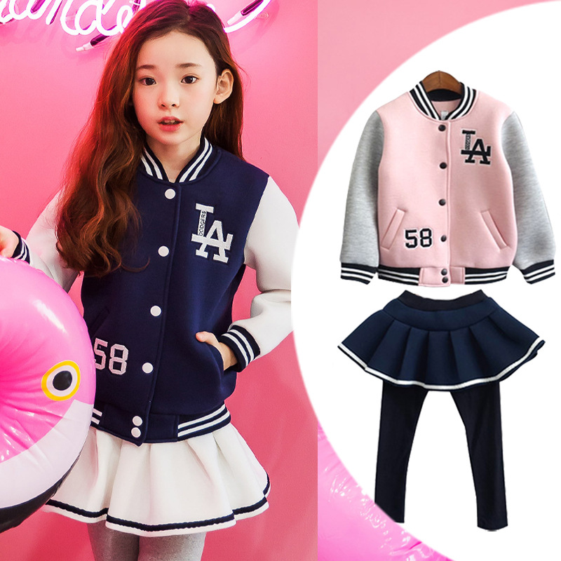 New Girls Clothing Set Pin Long Sleeve Cute Suit 2Pcs School Baseball Jacket + Pants Dress Children Clothes Tracksuit For Girls new girls clothing set pin long sleeve cute suit 2pcs school baseball jacket pants dress children clothes tracksuit for girls