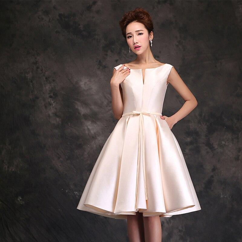 1195c87a6 Don s Bridal 2016 mujeres elegantes vestidos de graduación satén hasta la rodilla  vestido cuello redondo noche una línea de vestidos de fiesta en Vestidos ...