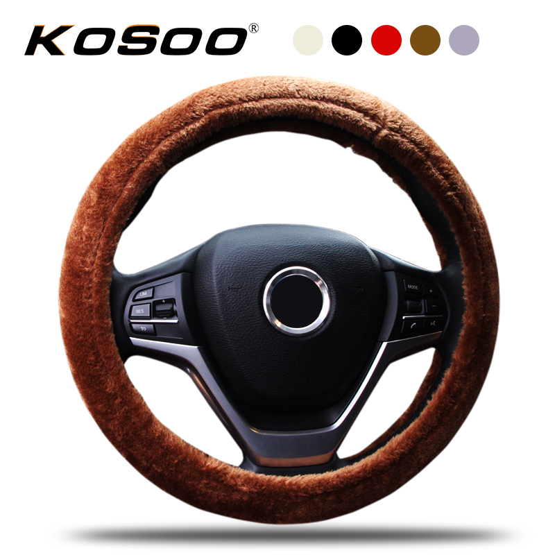 KOSOO Auto Thick Plush Warm Steering Wheel Covers Car Interior Accessories Styling Winter Comfortable Supplies For All Car
