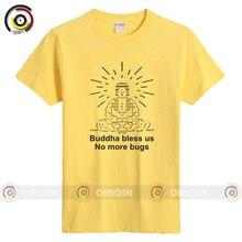 Men's Short Sleeved O-neck T-shirt 2016 summer male short-sleeved T-shirt Buddha Bless No More Buys Geek Cotton Material T-shirt