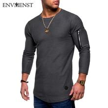 2018 Naujas pavasaris Long Sleeve T Shirt Men Vintage Slim Fit Cotton Shirts Fashion Zipper Sleeve Men Plus Size Tops