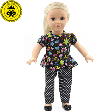 Retro Clothes for Dolls American Doll Best Gift for Girls Dolls Accessories 18 inch Floral Shirt