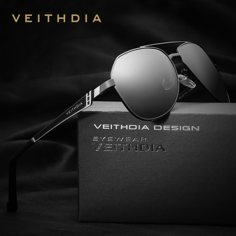 VEITHDIA Brand Designer Stainless Steel Lelaki Cermin mata hitam Polarized Mirror Lens Eyewear Accessories Sun Glasses For Men 3559