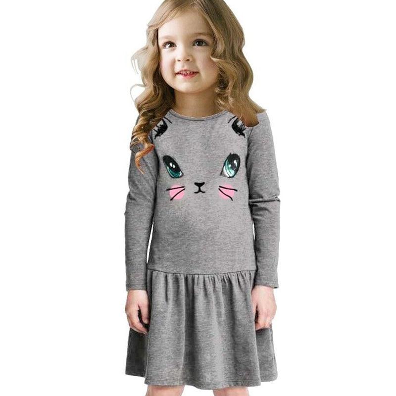 c07802d379105 Robe De Ceremonie Enfant Fille Cute Vestidos Infantil Girl Cartoon Dresses  Cat Printed Nova Girl Princess Dresses