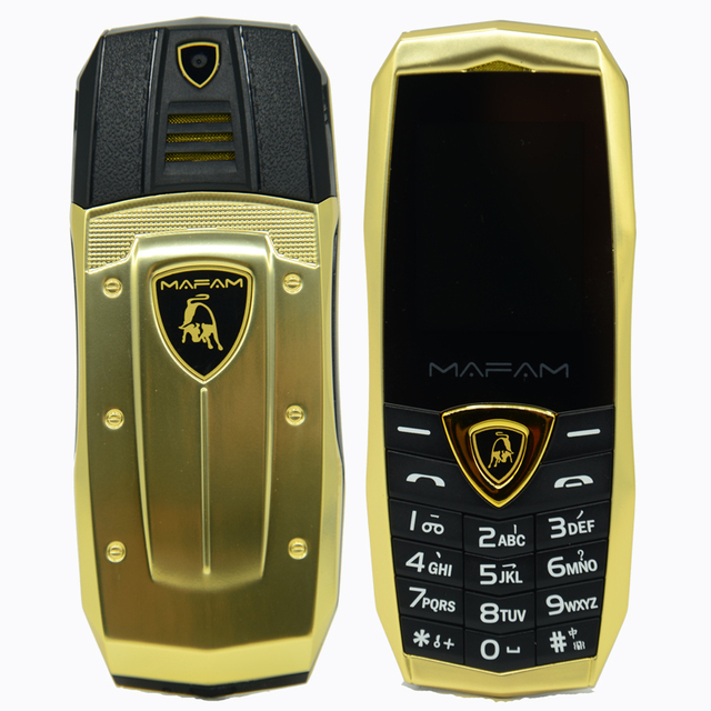MAFAM A18 ロシア語アラビア語スペインフランス振動高級金属ボディ車のロゴデュアル sim gsm 中国の携帯電話在庫