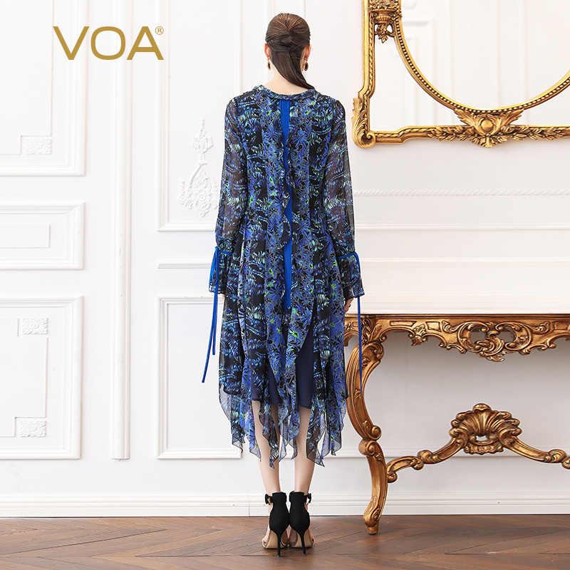 VOA шелк жоржет платье Для женщин миди платья V шеи Ленточки плюс Размеры 5XL пляжный отдых Boho принт синий Повседневное лето a528