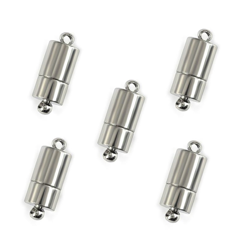 5Pcs Cylinder Magnetic Clasp Connectors for Bracelet Necklace Jewelry Making