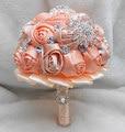 Роскошный Светло-Оранжевый Розовый Сверкающих Феникс Алмаз И Жемчуг Искусственный Свадебный Букет