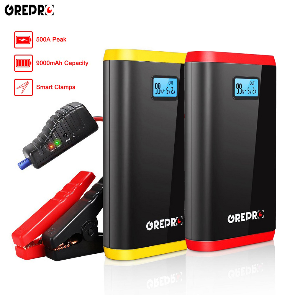 9000mAh Vehicle Jump Starter 12V 500A Car Emergency Battery Auto External Battery Multi-function Booster Car Starter Power Bank(China)