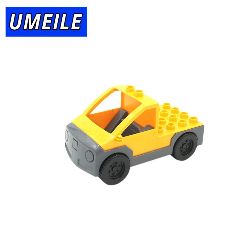 UMEILE Brand Original Classic Yellow City Farm Truck Pull Wagon Vehicle Model Building Block Kids Toys Compatible with Duplo