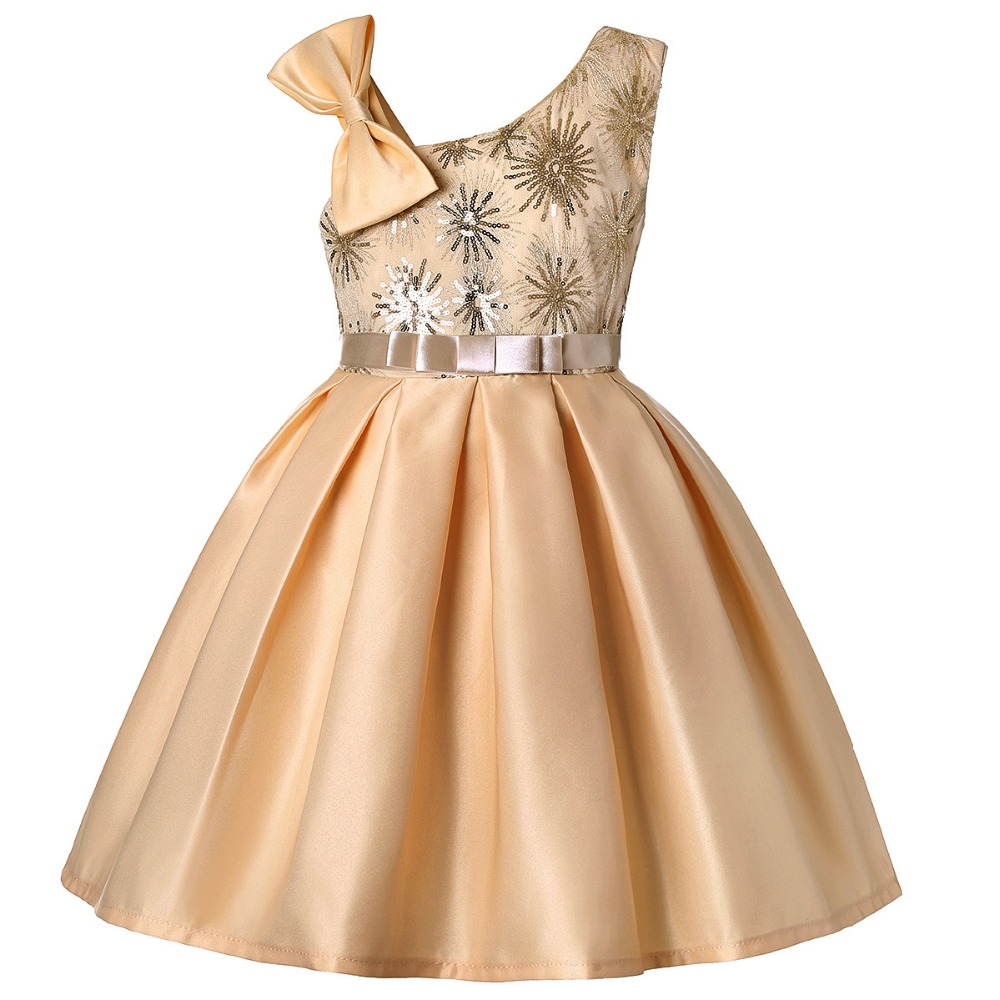 b55674a69de32 US $13.31 26% OFF|Elegant Gold Embroidery Girl Dress Color Kids Wedding  Party Dress Summer Sleeveless Princess Prom Dresses Christmas for Girls-in  ...